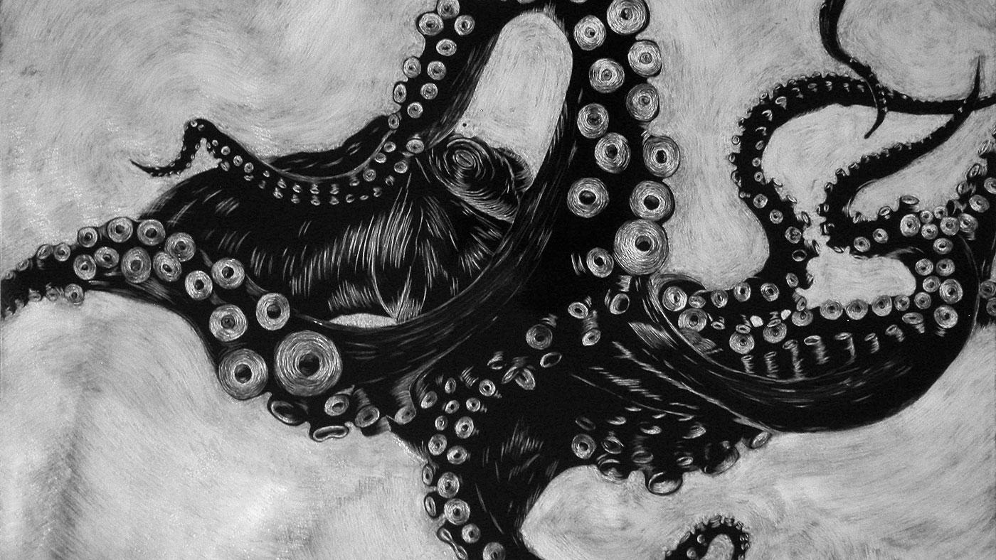 octopus scratchboard