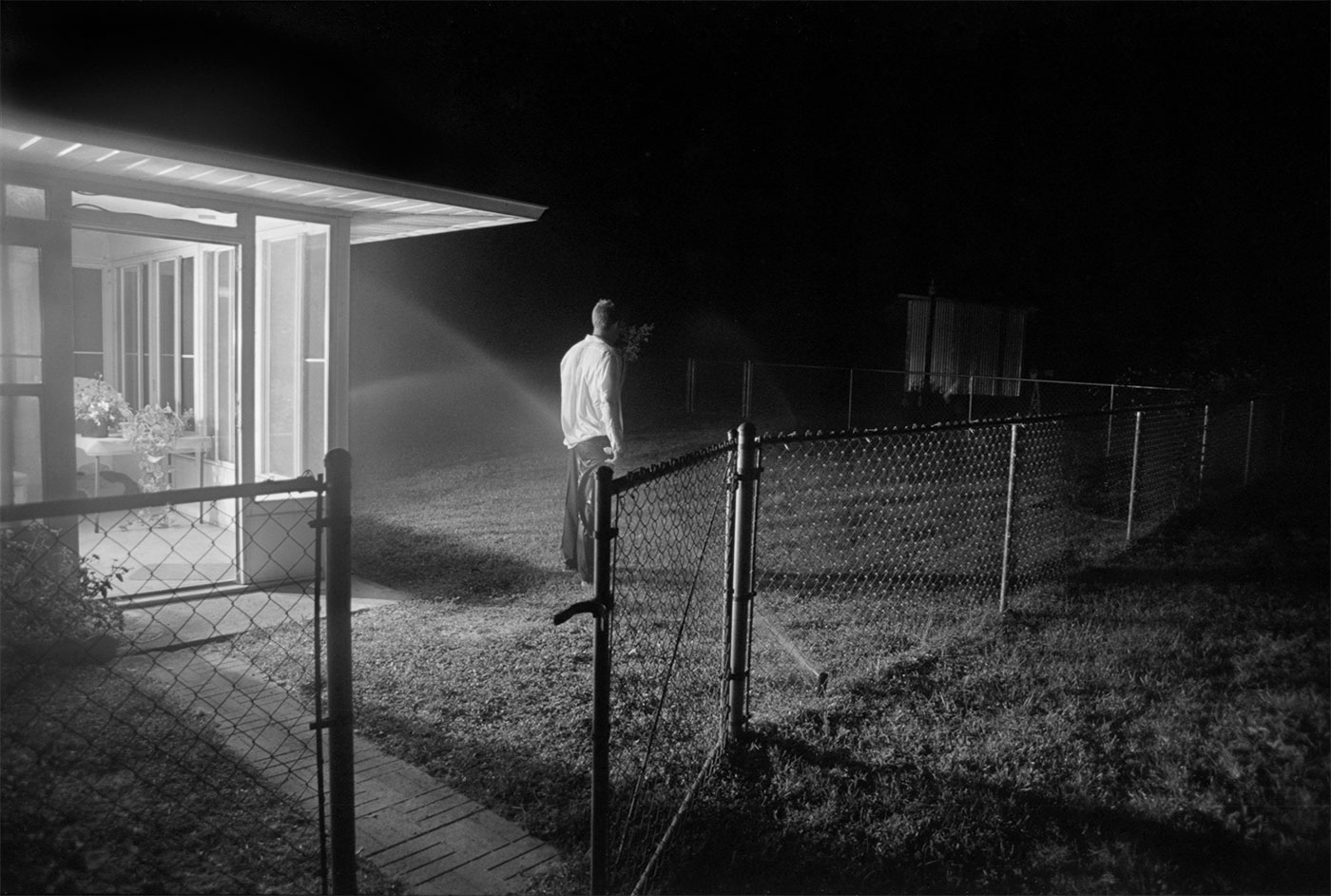 Man outside at night