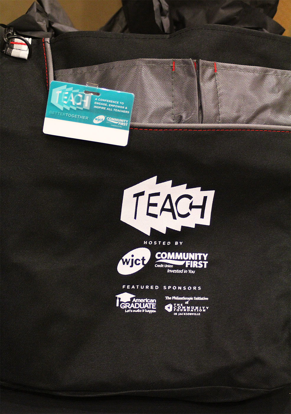 TEACH Conference gift bag and name badge