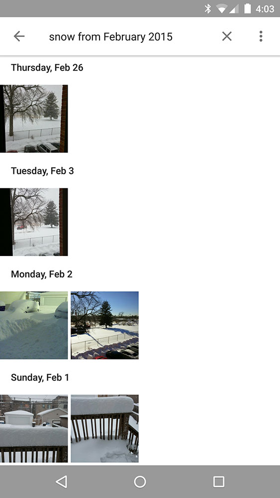 Google Photos search for 'snow from February 2015'