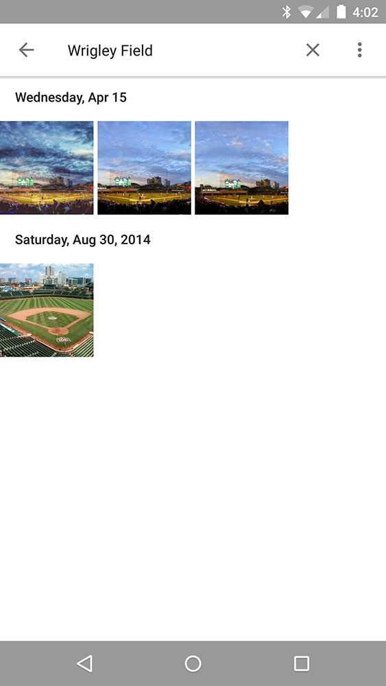 Google Photos search for Wrigley Field