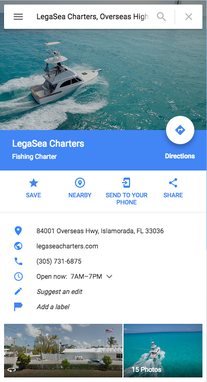 LegaSea Charters on Google