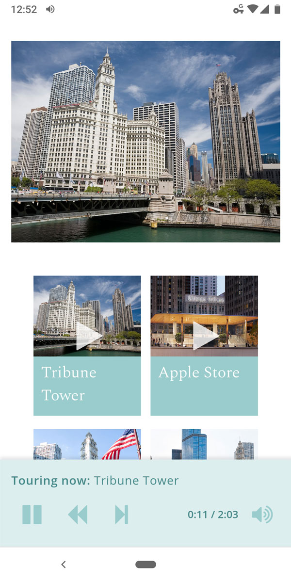 Mobile screenshot of the Chicago River Tour audio tour