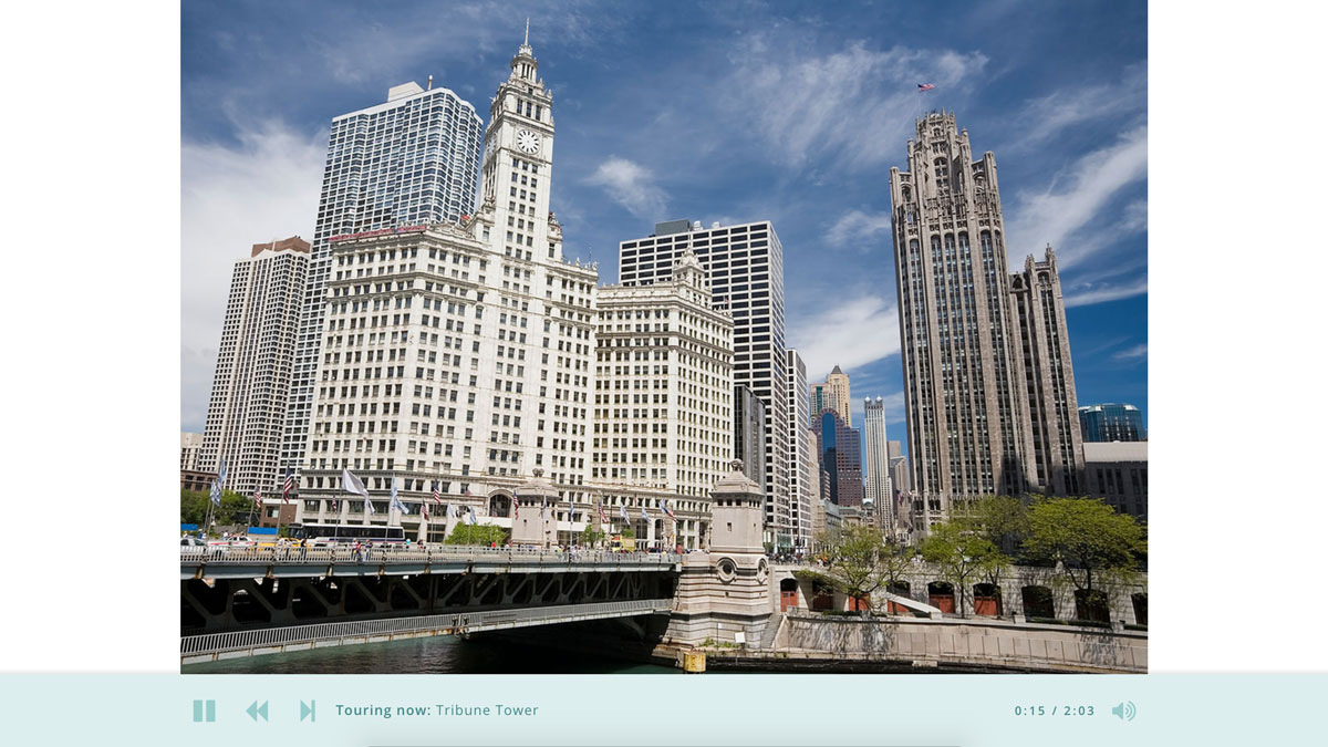 Screenshot of the Chicago River Tour audio tour
