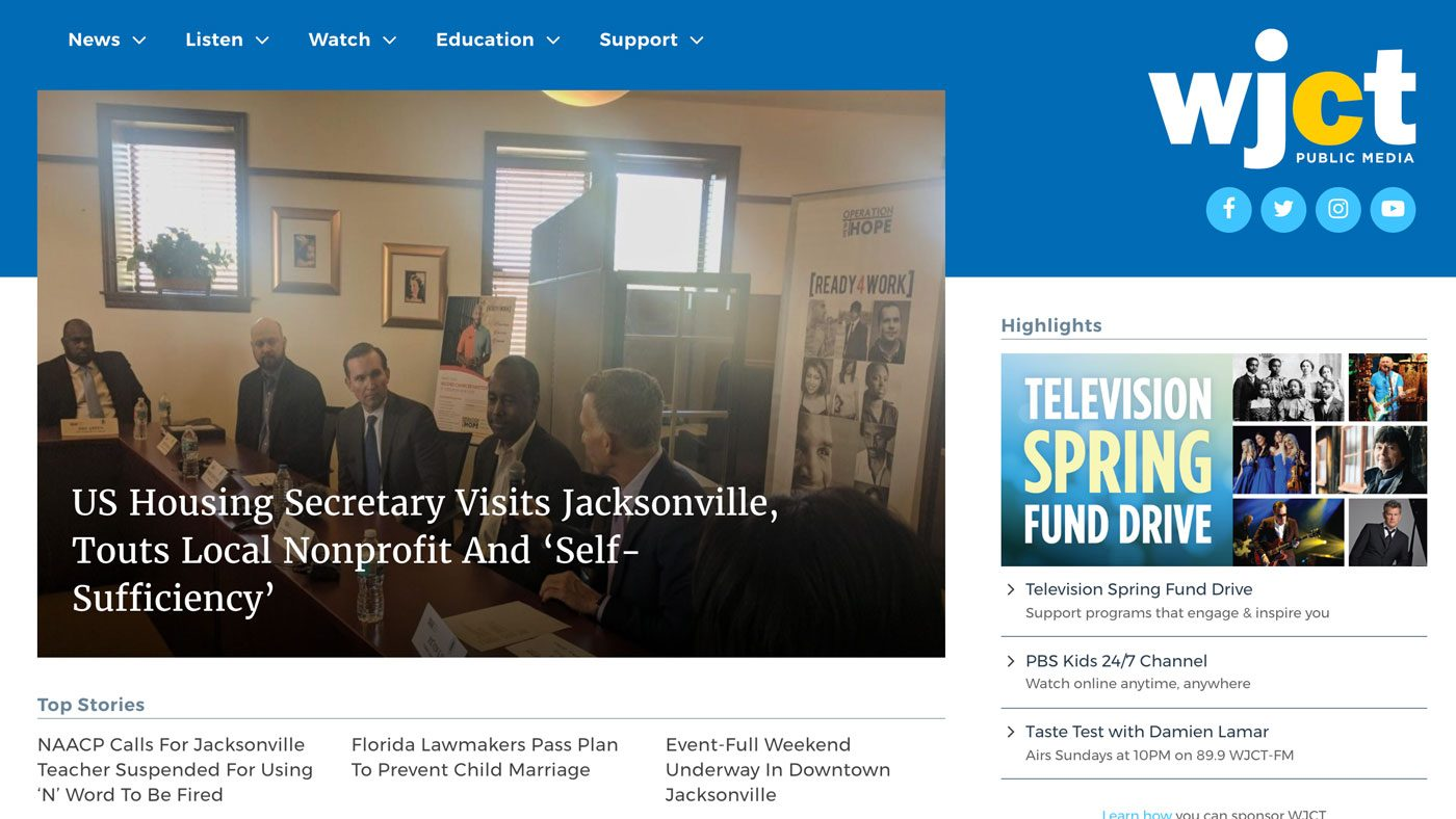 Screenshot of WJCT homepage redesign